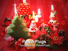 PowerPoint template displaying christmas still life in traditional red tone