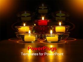 PowerPoint template displaying a number of burning candles with their reflection in the background