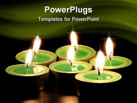 PowerPoint template displaying green aromatic candles on black background with reflection in the background.
