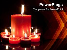 PowerPoint template displaying large red candle surrounded by small red and purple in the background.
