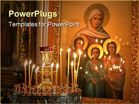 PowerPoint template displaying gold plated painting of four holy women on wall with lighted candles