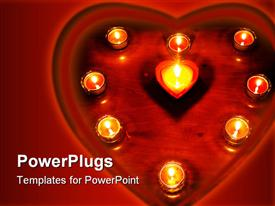 PowerPoint template displaying nice ornament of burning valentines day heart candles in the background.