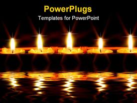 PowerPoint template displaying five lit candles in a box on a river
