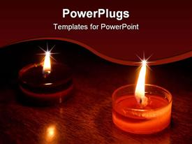 PowerPoint template displaying small orange oriental candles glowing in dark in the background.