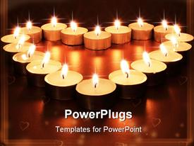 PowerPoint template displaying a number of burning candles with brownish background