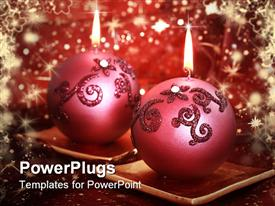 PowerPoint template displaying christmas holiday still life with ornament ball candles, sparkle red background