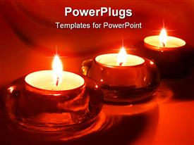 PowerPoint template displaying three burning tea light candles in red glass candle holders