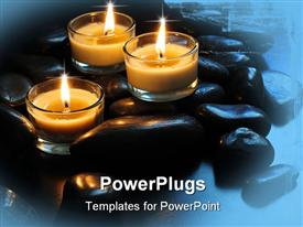 PowerPoint template displaying three burning candles and black stones in the background.