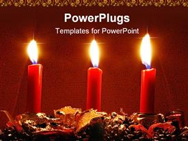 PowerPoint template displaying three red burning candles on holiday decoration with red and gold