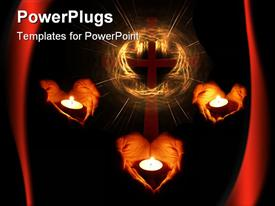 PowerPoint template displaying three pairs of heart shaped hands holding candles with a cross