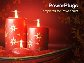 Three red Christmas candles on red background template for powerpoint