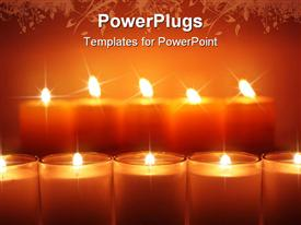 PowerPoint template displaying two lines of glowing candles shining in the dark in the background.