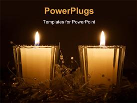 PowerPoint template displaying two white and bright Christmas candles in dark