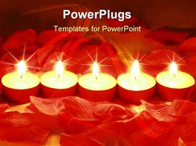 PowerPoint template displaying valentines day candles and rose petals. Could be a nice spa depiction in the background.