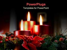 PowerPoint template displaying holiday decorations candles wreaths christmas decor relax vacation