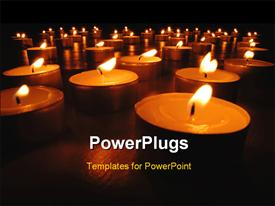 PowerPoint template displaying christmas depictions with row of burning candles at night