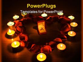 PowerPoint template displaying diamond ring in a box in the middle of a heart with petals roses and candles lights