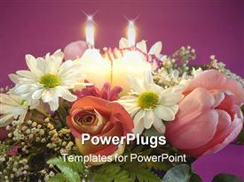 PowerPoint template displaying flowers for mother in the background.