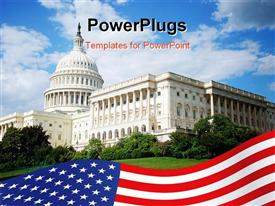 PowerPoint template displaying outside view of US Capitol building with blue sky, white clouds, landscaping, and American flag