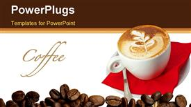 PowerPoint template displaying cappuccino cup close up with leaves design
