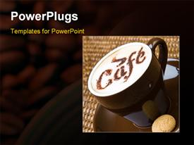 PowerPoint template displaying hot cappuccino with an amaretto in a brown cup