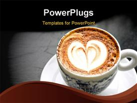 PowerPoint template displaying nice cup of Italian cappuccino with heart decoration in the background.
