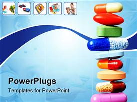 PowerPoint template displaying stack of various pills and capsules on light blue with white background and small icons depicting pills and capsules