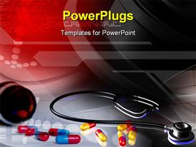 PowerPoint template displaying stethoscope and capsule in color background