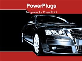 PowerPoint template displaying a luxury car with black background and place for text