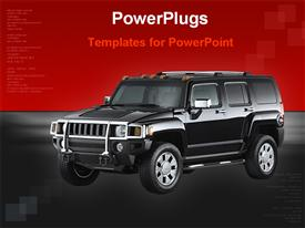PowerPoint template displaying black car with red and black background