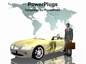 PowerPoint template displaying business man with car in the background.