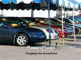 PowerPoint template displaying car dashboard on sports cars in the background.