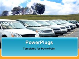 PowerPoint template displaying car dealers lot full of sedans for sale. Look in my gallery for more car depictions like this in the background.