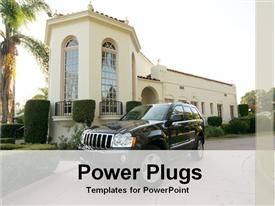 PowerPoint template displaying car in front of a house in the background.