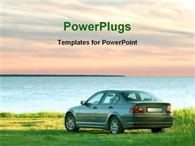 PowerPoint template displaying car in a sea side in the background.