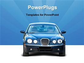 PowerPoint template displaying front-end of a car in the background.