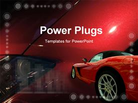 PowerPoint template displaying red luxury car on colorful red background