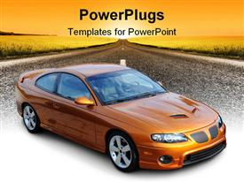 PowerPoint template displaying photograph of a American Sports Coupe in the background.