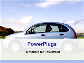 PowerPoint template displaying private car in a ground in the background.