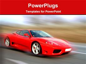 PowerPoint template displaying red sports car in a motion view in the background.
