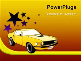 PowerPoint template displaying yellow sport car with stars on gradient red, orange and yellow background