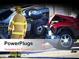 Car accident with emergency people investigating the scene powerpoint theme
