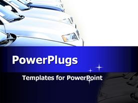 PowerPoint template displaying formation of cars. Ideal template for car presentation for car dealers in the background.