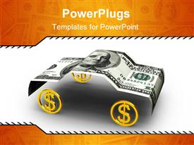 PowerPoint template displaying american dollar in car format in the background.