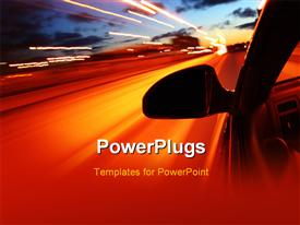 PowerPoint template displaying night drive motion blurred transportation abstract background