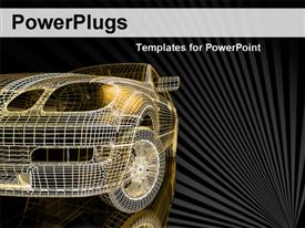 PowerPoint template displaying a mesh skeleton of a 3D car on a black background