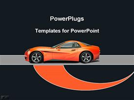 PowerPoint template displaying orange sports car in the background.
