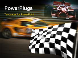 PowerPoint template displaying orange racing car passing the checkered flag with motion blur in the background.