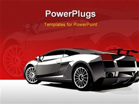 PowerPoint template displaying automobile show with concept-car and girl