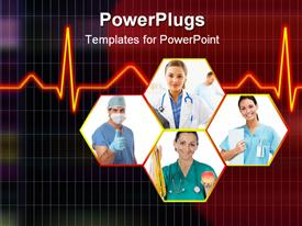 PowerPoint template displaying cardiogram behind Healthcare professionals in hexagons